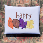 """Happy Fall"" Autumn Leaves Applique Embroidery Design, snugglepuppyapplique.com"