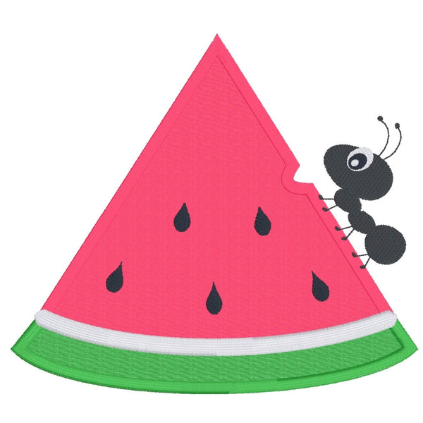Watermelon applique design, slice of watermelon with an ant, snugglepuppyapplique.com