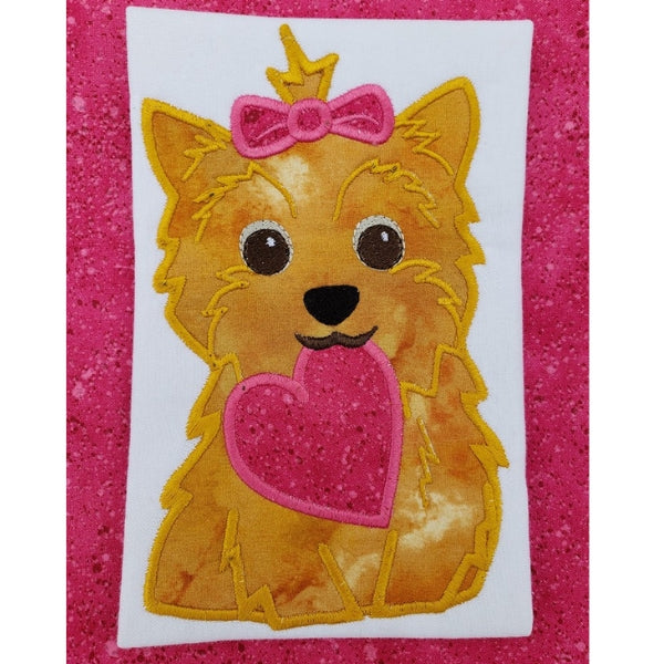 Yorkie Valentine Applique