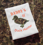 """Daddy's lil' duck hunter"" with duck applique machine embroidery design by snugglepuppyapplique.com"