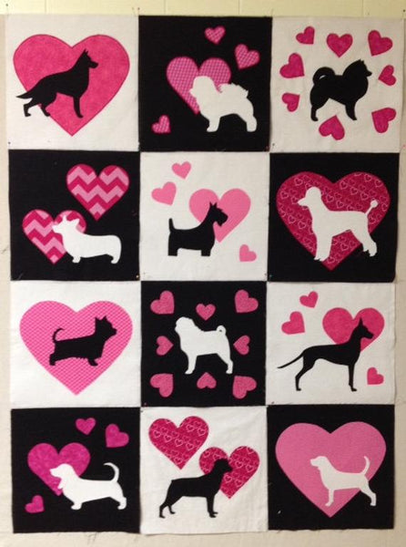 Dog quilt block raw edge fusible applique sewing pattern, snugglepuppyapplique.com
