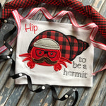 Hip to be a Hermit Crab social distancing applique embroidery design by snugglepuppyapplique.com
