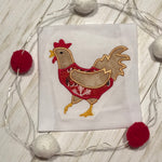 Chicken in a Christmas sweater applique embroidery design by Snugglepuppyapplique.com
