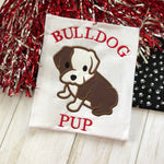 Bulldog pup mascot applique embroidery design for baby and kids, snugglepuppyapplique.com