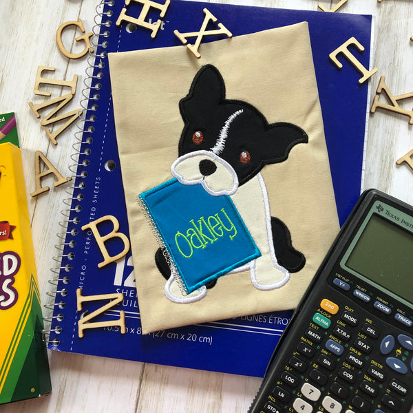 Boston Terrier with Notebook Back to School Applique Embroidery Design, snugglepuppyapplique.com