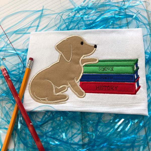 Pup with Books Back to School Applique Embroidery Design, snugglepuppyapplique.com