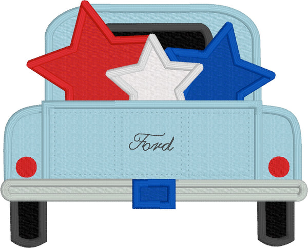 Stars in Pickup 4th of July applique embroidery design, snugglepuppyapplique.com