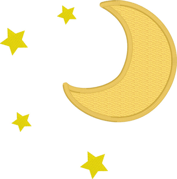 Moon and Stars applique embroidery design, free applique design, snugglepuppyapplique.com
