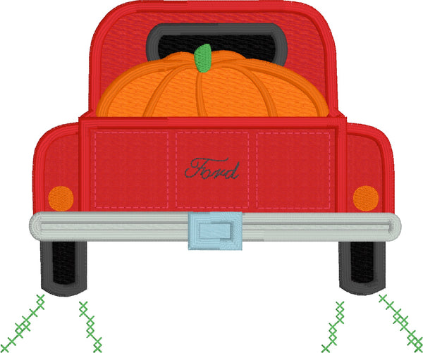 Pumpkin pickup applique embroidery design, large pumpkin in the bed of a vintage pickup truck, snugglepuppyapplique.com