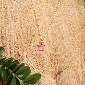 Hot Pink Crown Necklace
