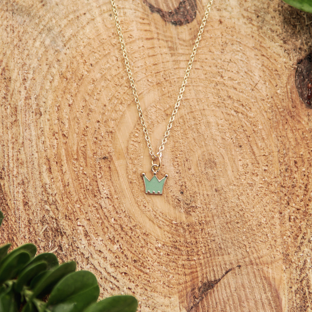 Teal Crown Necklace