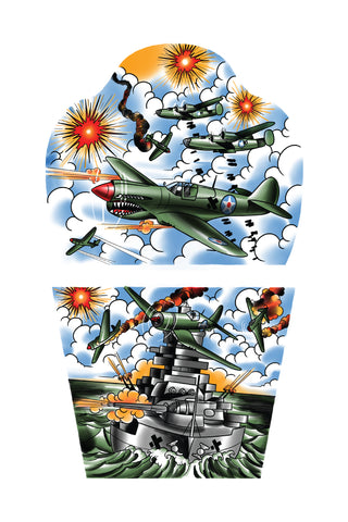 Shows full temporary tattoo sleeve with planes and a navy ship fighting.