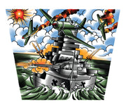 Lower sleeve design of temporary tattoo depicting military planes on a navy ship.