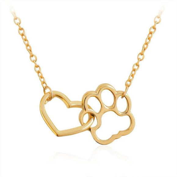 Heart and Paw Necklace Offer gold silver discount