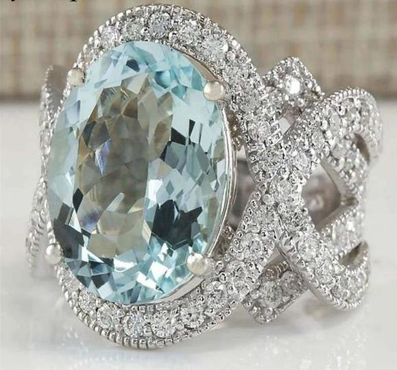 BEAUTIFUL~Light Blue Center Stone with Cubic Zirconia Wrap | MyAddictToMyAngel