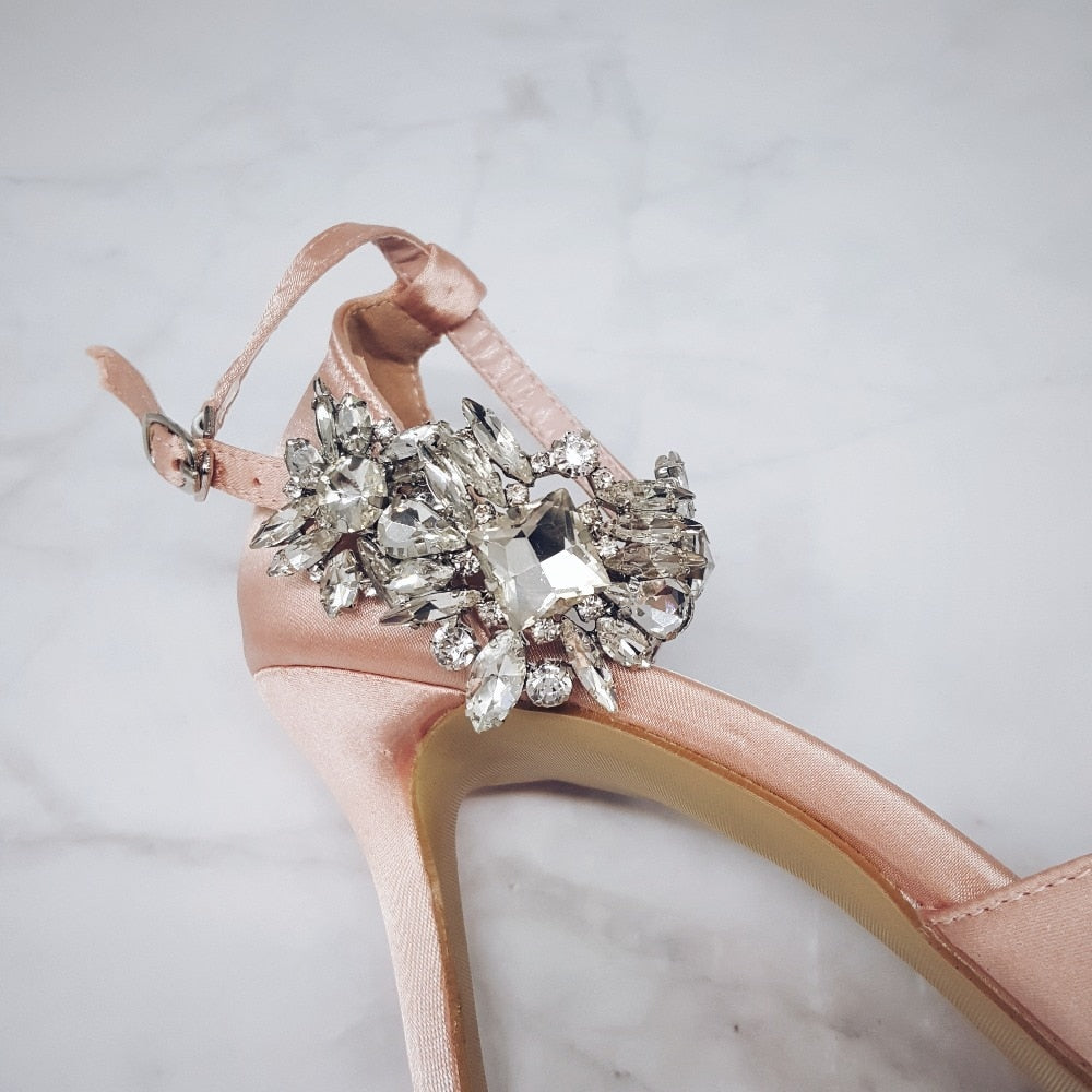 Elegant Rhinestone High Heels Women Pumps Silk Pointed Toe Wedding Shoes