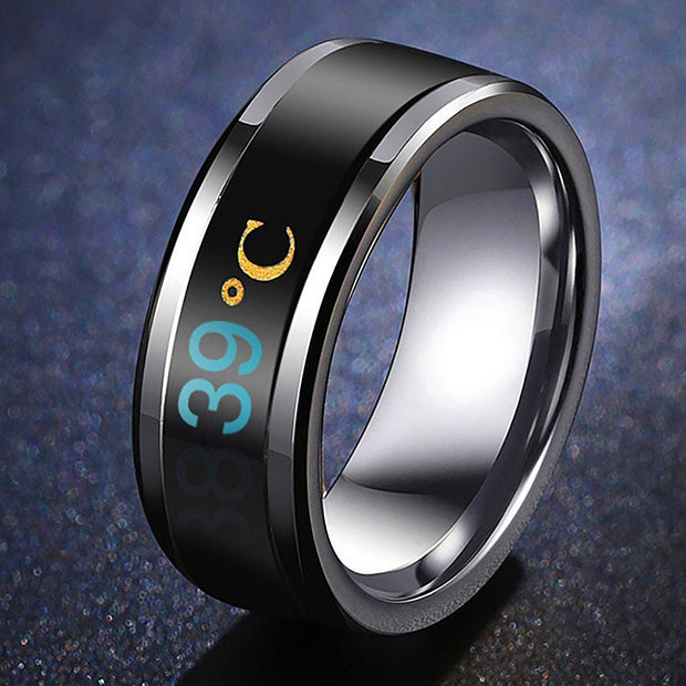 😷Temperature 🌡️Titanium Stainless Steel Ring  😷