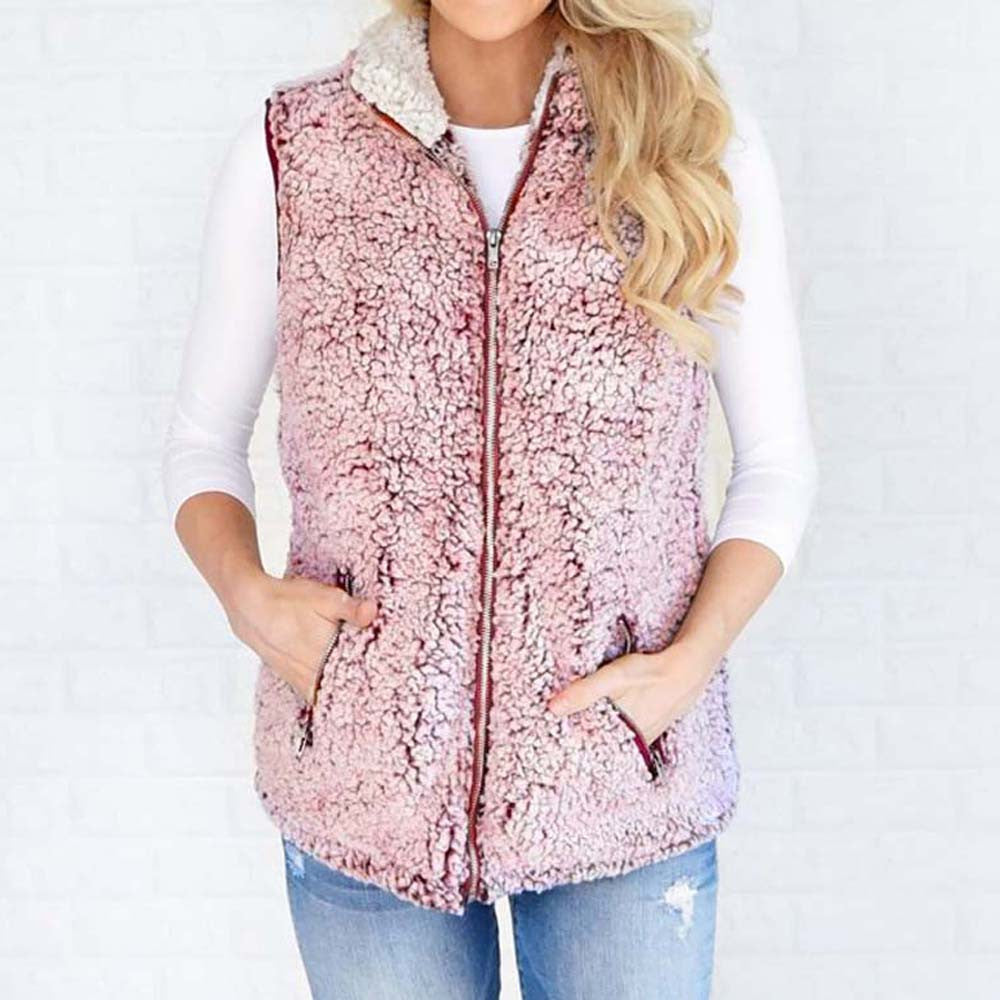 Womens Vest Winter Warm  Faux Jacket