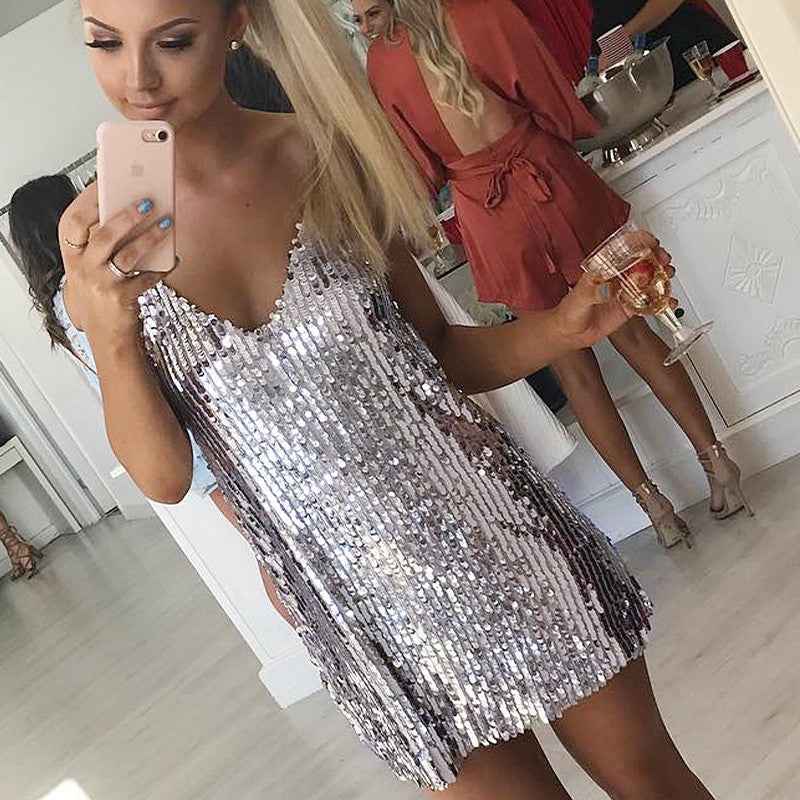 3470c91a9c2d Deep V Neck Silver Sequined Backless Sexy Dress Women Off Shoulder Mini  Dress Short Christmas Party