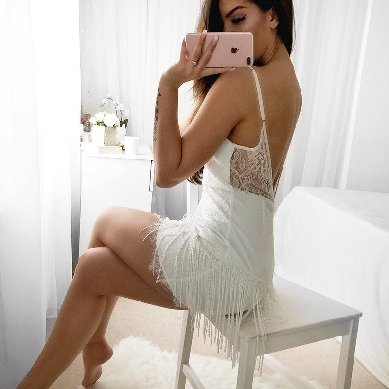 Glamaker #Sexy white lace dress