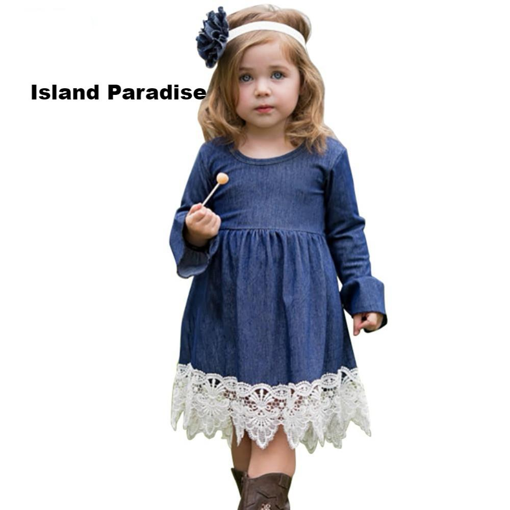 Spring #Princess #Denim Lace Dress