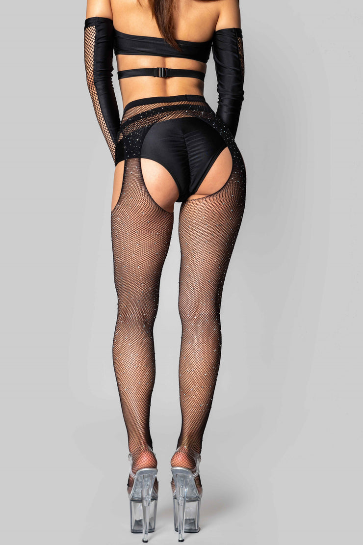 Pole dancing glitter rhinestone cut out fishnet tights Riot Polewear