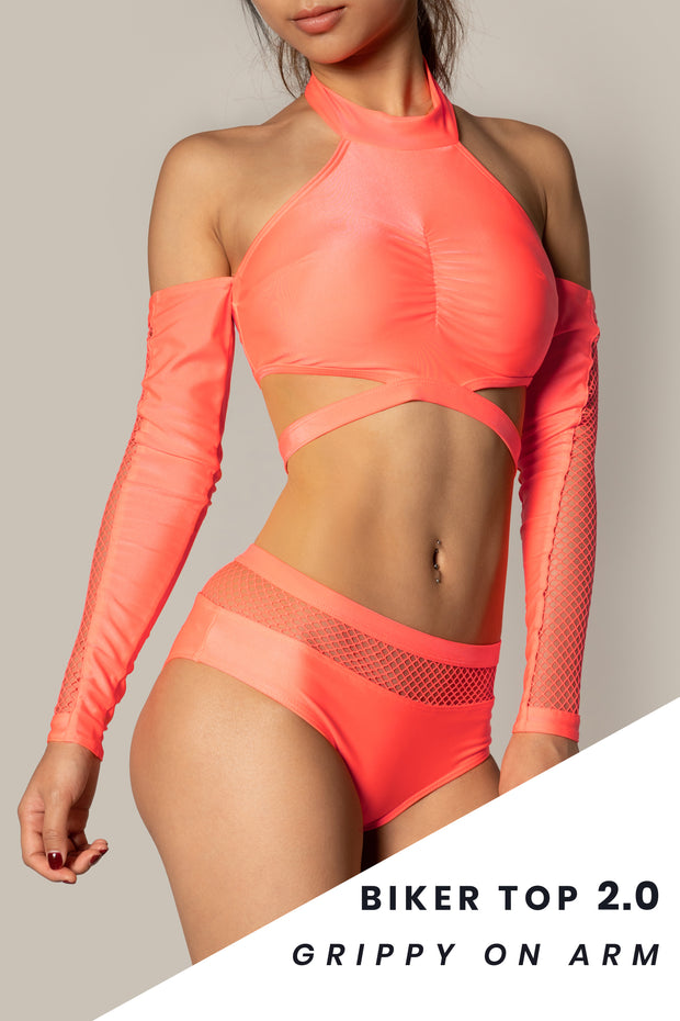 Pole dancing grippy neon orange fishnet top RIOT Polewear
