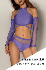 Pole dancing grippy purple fishnet top RIOT Polewear