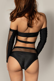 Pole dancing grippy black fishnet top RIOT Polewear
