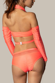 Pole dancing neon orange fishnet shorts RIOT Polewear