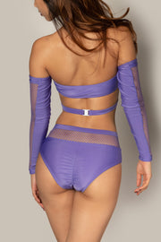 Pole dancing purple fishnet top RIOT Polewear