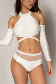 Pole dancing white fishnet top RIOT Polewear