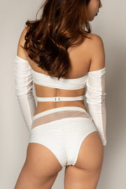 Pole dancing grippy white fishnet top RIOT Polewear
