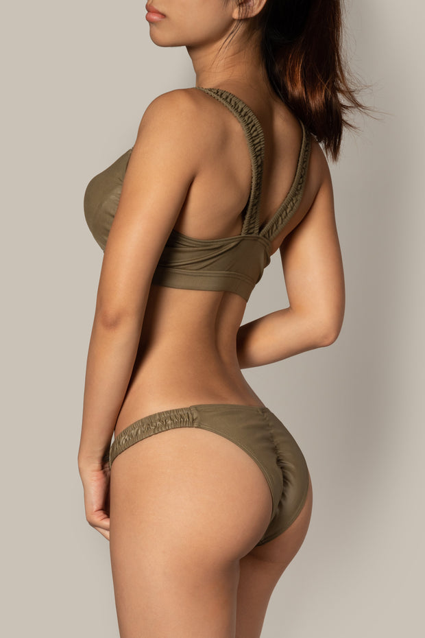 Pole dancing army green ruched cut out top RIOT Polewear