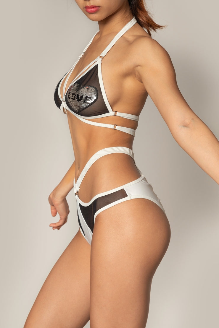 Pole dancing white strappy mesh o ring bikini top with love heart shape patches Riot polewear