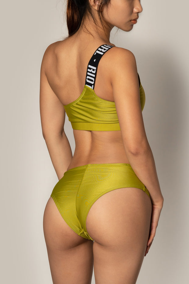 Pole dancing sporty olive green top RIOT Polewear