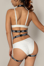 Pole dancing white sports band o ring halter bra top Riot polewear