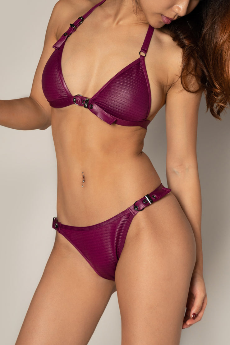 Pole dancing beach wear reddish purple berry wine buckled bikini top Riot polewear