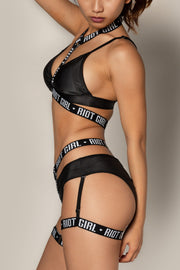 Pole dancing black sports band o ring halter bra top Riot polewear