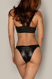 Pole dancing black leather look ruched cut out top RIOT Polewear