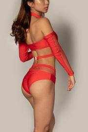 Pole dancing red fishnet top RIOT Polewear