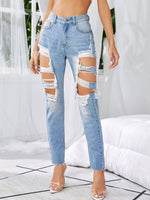 Light Wash Ripped Raw Hem Jeans