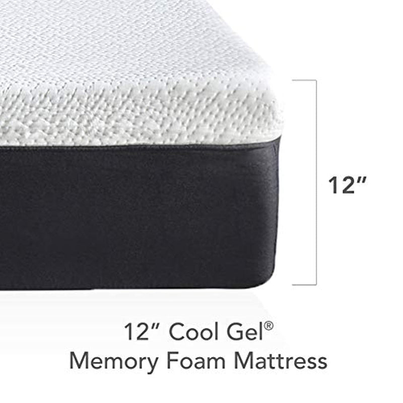 Classic Brands Cool Gel and Ventilated Memory Foam 12-Inch Mattress, queen, White