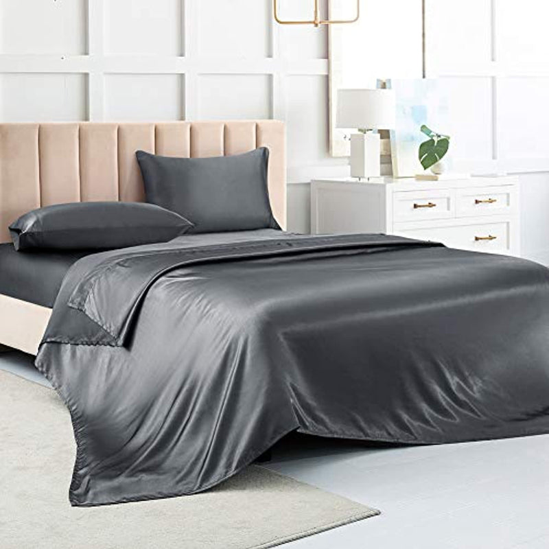 Satin Sheets Queen  King,Bed Sheets, Dark Grey