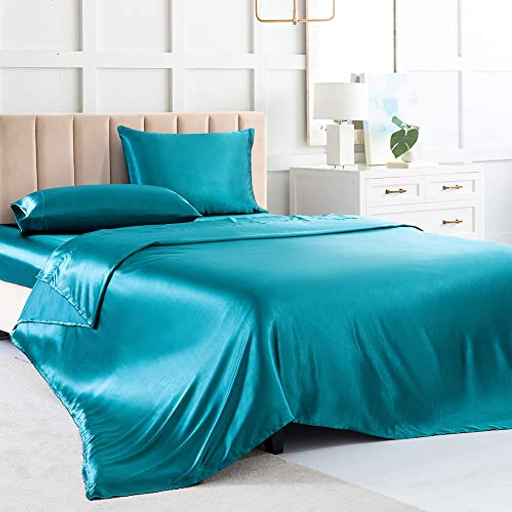 Satin Sheets Queen,  Bed Sheets Teal