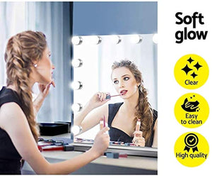 Hansong Large Vanity Makeup Mirror with Lights,Hollywood Lighted Mirror with 15 pcs Dimmable Led Bulbs for Dressing Room & Tabletop Mirror or Wall Mounted,Detachable 10X Magnification Spot Mirror
