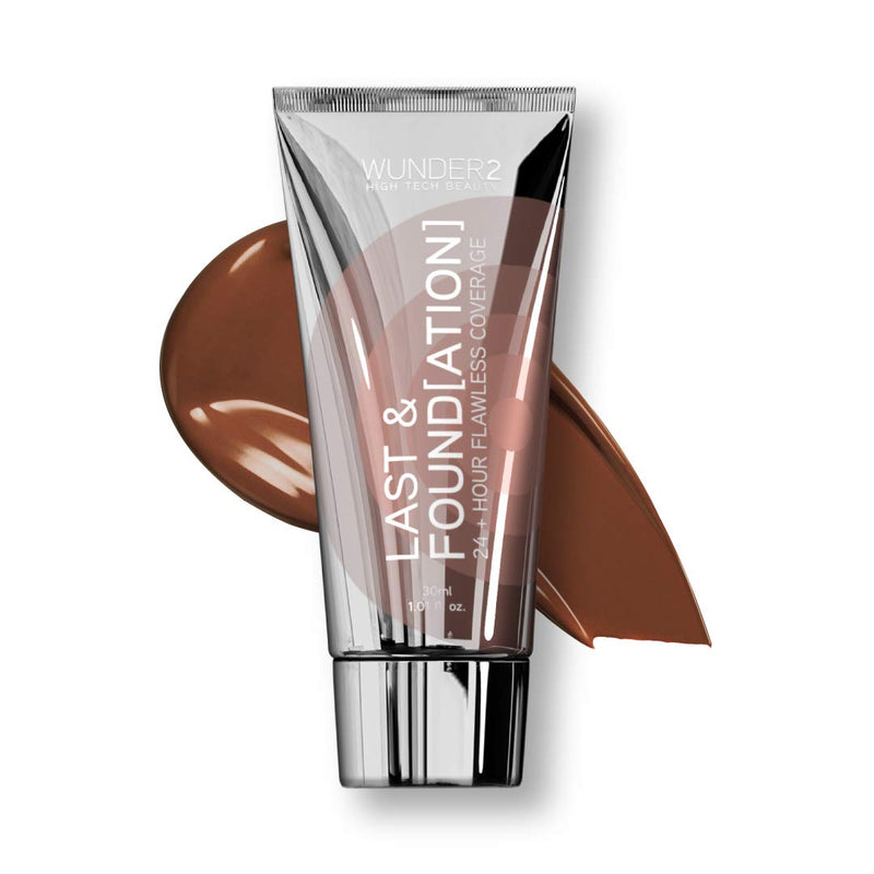WUNDER2 LAST & FOUNDATION 24+ Hour Flawless Full Coverage Liquid Foundation Makeup, Sand