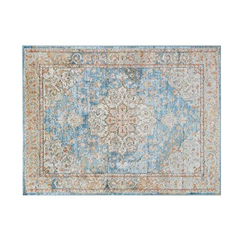 Lexington Medallion Woven Turkish Area Rugs  8x10 ft, Distressed Blue Bohemian