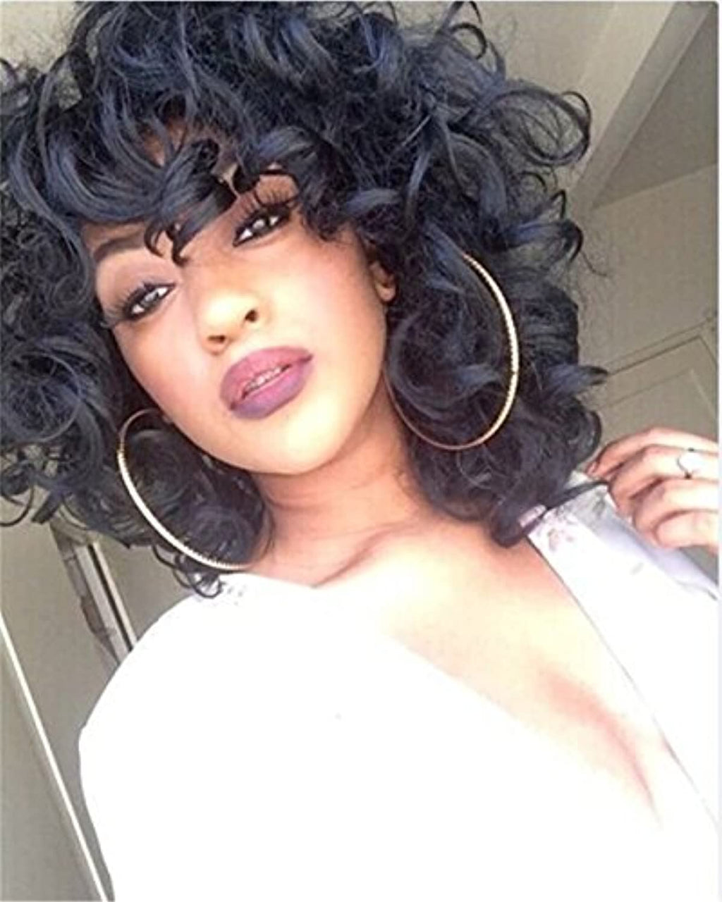 ELIM Short Curly Kinky Wig Fluffy Synthetic Hair