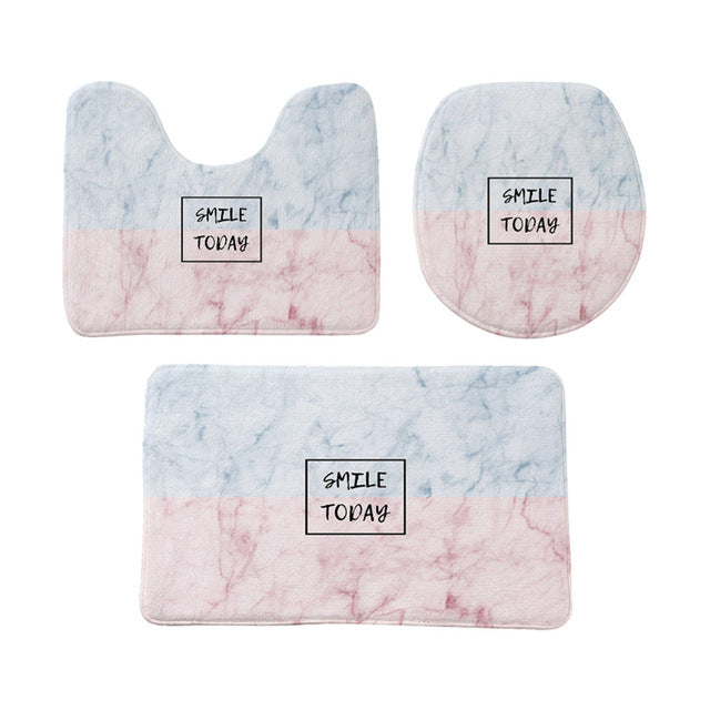 Flannel Print Non Slip Toilet Cover set